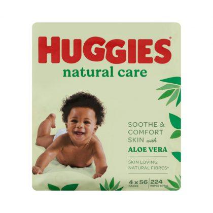 Huggies nedves törlőkendő single Natural Care multipack 4x56 db