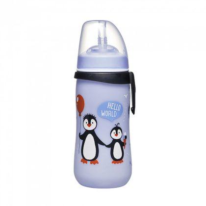 Nip szívószálas itató 330 ml 12 hó+ (kék, pingvin)