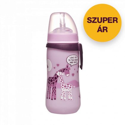 Nip szívószálas itató 330 ml 12 hó+ (rózsaszín, zsiráf)