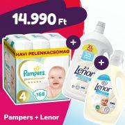 Pampers Premium Care pelenka, Maxi 4, 9-14 kg, 168 db + Lenor mosógél + öblítő