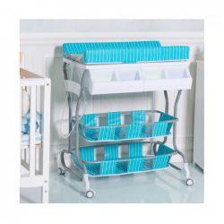 Baba fürdető és pelenkázó állvány tárolókkal (kék) + AJÁNDÉK KELENGYECSOMAG