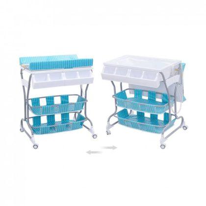 Baba fürdető és pelenkázó állvány tárolókkal (kék)
