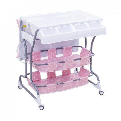 Baba fürdető és pelenkázó állvány tárolókkal (rózsaszín)