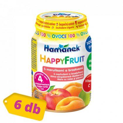MEGSZŰNT - Hamánek Happy Fruit bébidesszert 100% gyümölcs alma-sárgabarack-őszibarack, 4 hó+ (6x190 g)