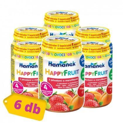 MEGSZŰNT - Hamánek Happy Fruit bébidesszert 100% gyümölcs alma-eper-sárgabarack, 4 hó+ (6x190 g)