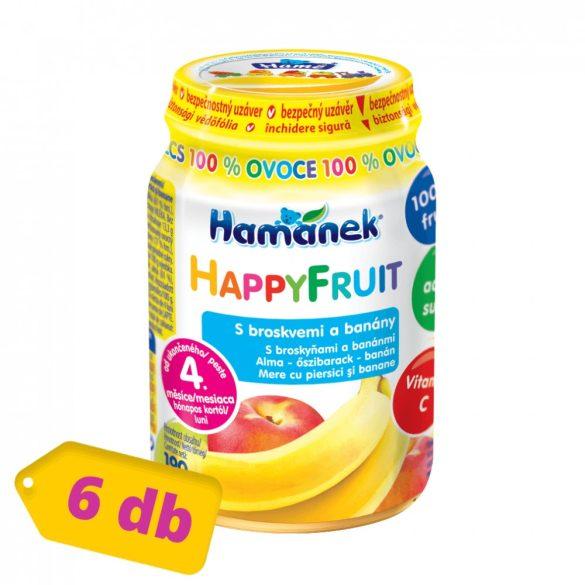 MEGSZŰNT - Hamánek Happy Fruit bébidesszert 100% gyümölcs alma-őszibarack-banán, 4 hó+ (6x190 g)