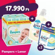 Pampers Premium Care pelenka, Junior 5, 11-16 kg, 136 db + 2 csomag Lenor mosókapszula + öblítő
