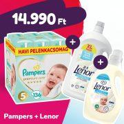 Pampers Premium Care pelenka, Junior 5, 11-16 kg, 136 db + Lenor mosógél + öblítő
