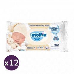 Molfix Sensitive kupakos illatmentes popsitörlő csomag, 12x50 lap