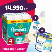 Pampers Pants bugyipelenka, Maxi+ 4+, 9-15 kg, 164 db + Lenor mosókapszula + öblítő