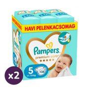 Pampers Premium Care pelenka, Junior 5, 11-16 kg, 1+1, 272 db + AJÁNDÉK Pampers Pure kókuszos törlőkendő 2x42 db