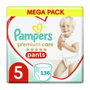 Pampers Premium Care Pants bugyipelenka, Junior 5, 12-17 kg HAVI PELENKACSOMAG 136 db