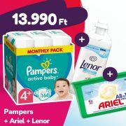 Pampers Active Baby pelenka, Maxi+ 4+, 10-15 kg, 164 db + Ariel mosókapszula + Lenor öblítő