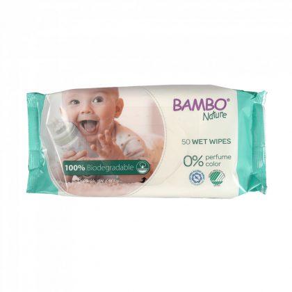 Bambo Nature lebomló öko nedves törlőkendő 50 db