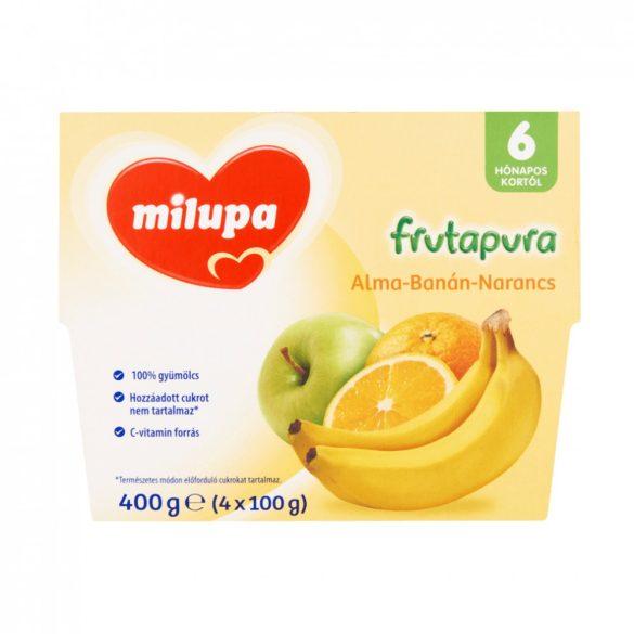 CSOMAGOLÁSSÉRÜLT - Milupa Frutapura alma-banán-narancs gyümölcspüré 6 hó+ (4x100 g)