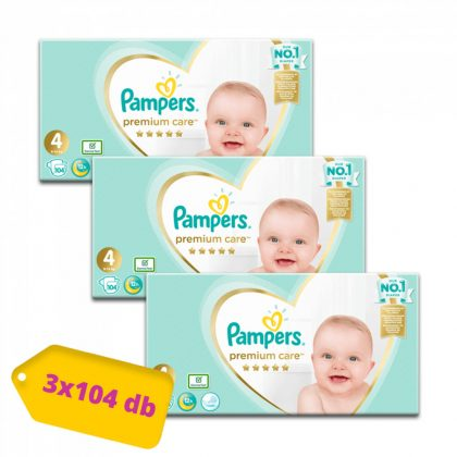 Pampers Premium Care pelenka, Maxi 4, 9-14 kg, 2+1, 312 db
