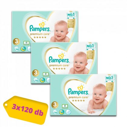 Pampers Premium Care pelenka, Midi 3, 6-10 kg, 2+1, 360 db