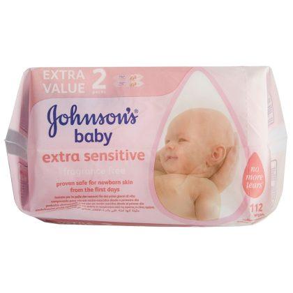 Johnson's Baby sensitive törlőkendő duopack 2x56 db