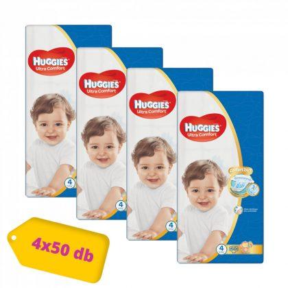 Huggies Ultra Comfort pelenka, Maxi 4, 8-14 kg, HAVI PELENKACSOMAG 4x50 db