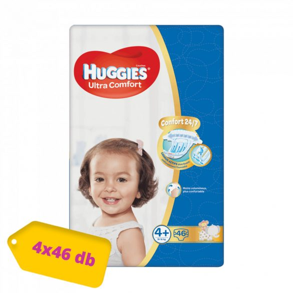 Huggies Ultra Comfort pelenka, Maxi+ 4+, 10-16 kg, HAVI PELENKACSOMAG 4x46 db