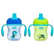 Chicco Training Cup csöpögésmentes, TPE csőrös itatópohár fülekkel 6 hó+ 200 ml (kék)