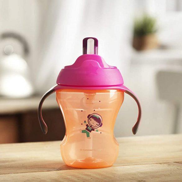 Tommee Tippee EXPLORA easy drink szívószálas 230ml 6hó (pink-narancs)