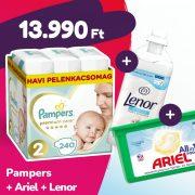 Pampers Premium Care pelenka, Mini 2, 4-8 kg, 240 db + Ariel mosókapszula + Lenor öblítő