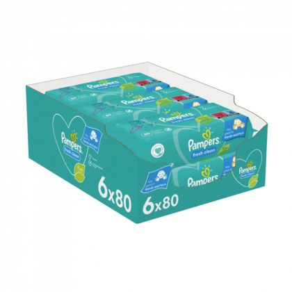 Pampers Fresh Clean nedves törlőkendő 6x80 db