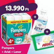 Pampers Pants bugyipelenka, Maxi+ 4+, 9-15 kg, 164 db + Ariel mosókapszula + Lenor öblítő
