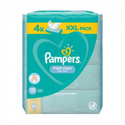 Pampers Fresh Clean nedves törlőkendő 4x80 db