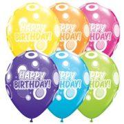 Színes Happy Birthday feliratos szülinapi lufi - 28 cm (6 db)