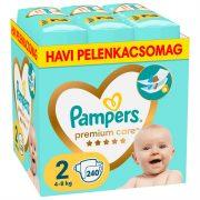 Pampers Premium Care pelenka, Mini 2, 4-8 kg, HAVI PELENKACSOMAG 240 db
