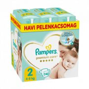 Pampers Premium Care pelenka, Mini 2, 4-8 kg, HAVI PELENKACSOMAG 240 db + AJÁNDÉK Pampers Pure kókuszos törlőkendő 42 db