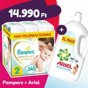 Pampers Premium Care pelenka, Mini 2, 4-8 kg, 240 db + Ariel Sensitive mosógél