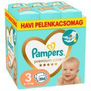 Pampers Premium Care pelenka, Midi 3, 6-10 kg, HAVI PELENKACSOMAG 204 db + AJÁNDÉK Pampers Pure kókuszos törlőkendő 42 db