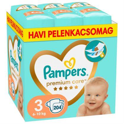Pampers Premium Care pelenka, Midi 3, 6-10 kg, HAVI PELENKACSOMAG 204 db