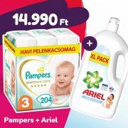 Pampers Premium Care pelenka, Midi 3, 6-10 kg, 204 db + Ariel Sensitive mosógél