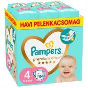Pampers Premium Care pelenka, Maxi 4, 9-14 kg, HAVI PELENKACSOMAG 168 db + AJÁNDÉK Pampers Pure kókuszos törlőkendő 42 db
