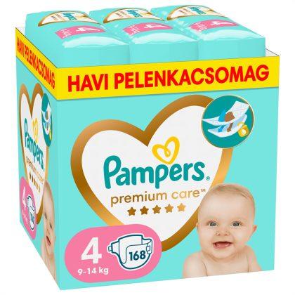 Pampers Premium Care pelenka, Maxi 4, 9-14 kg, HAVI PELENKACSOMAG 168 db