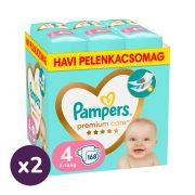 Pampers Premium Care pelenka, Maxi 4, 9-14 kg, 1+1, 336 db + AJÁNDÉK Pampers Pure kókuszos törlőkendő 2x42 db