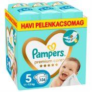 Pampers Premium Care pelenka, Junior 5, 11-16 kg, HAVI PELENKACSOMAG 136 db + AJÁNDÉK Pampers Pure kókuszos törlőkendő 42 db