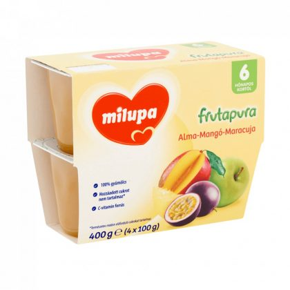 MEGSZŰNT - Milupa Frutapura alma-mangó-maracuja gyümölcspüré 6 hó+ (4x100 g)