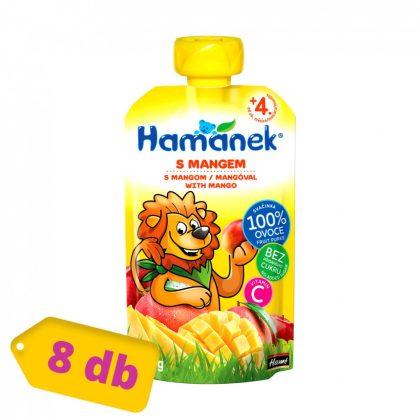 Hamánek tasakos gyümölcspüré mangóval, 4 hó+ (8x120 g)
