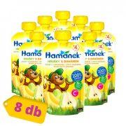 Hamánek tasakos gyümölcspüré körte-banánnal, 4 hó+ (8x120 g)