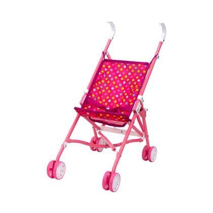 Játék babakocsi - rózsaszín pöttyös
