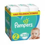 Pampers Active Baby pelenka, Mini 2, 4-8 kg, HAVI PELENKACSOMAG 228 db + AJÁNDÉK Pampers Pure kókuszos törlőkendő 42 db