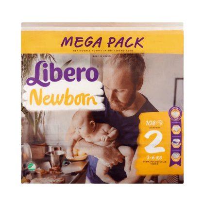 CSOMAGOLÁSSÉRÜLT - Libero Newborn pelenka, Mini 2, 3-6 kg, 108 db