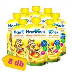 Hamánek tasakos gyümölcspüré őszibarack-banánnal, 4 hó+ (8x120 g)