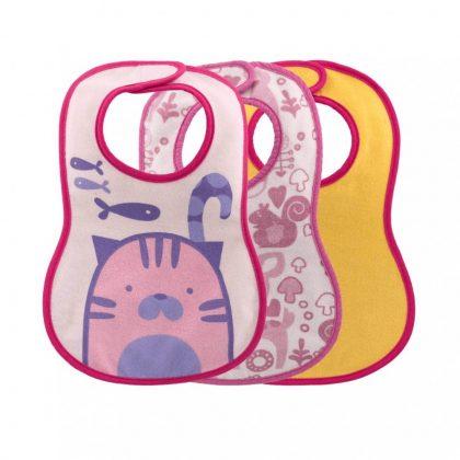 Chicco Easy Meal Bib frottir előke vízálló hátlappal 6 hó+ 3 db (pink, sárga)