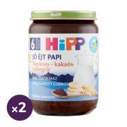 Hipp BIO jó éjt papi banános-kakaós tejbegríz, 6 hó+ (2x190 g)